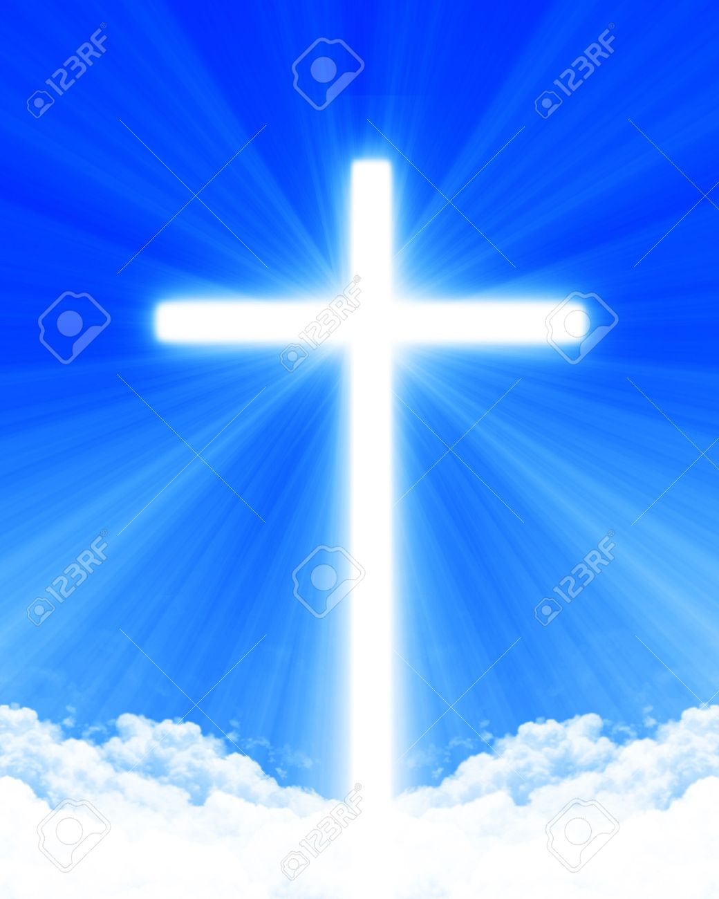 Bright glowing cross in the clouds - 1726907