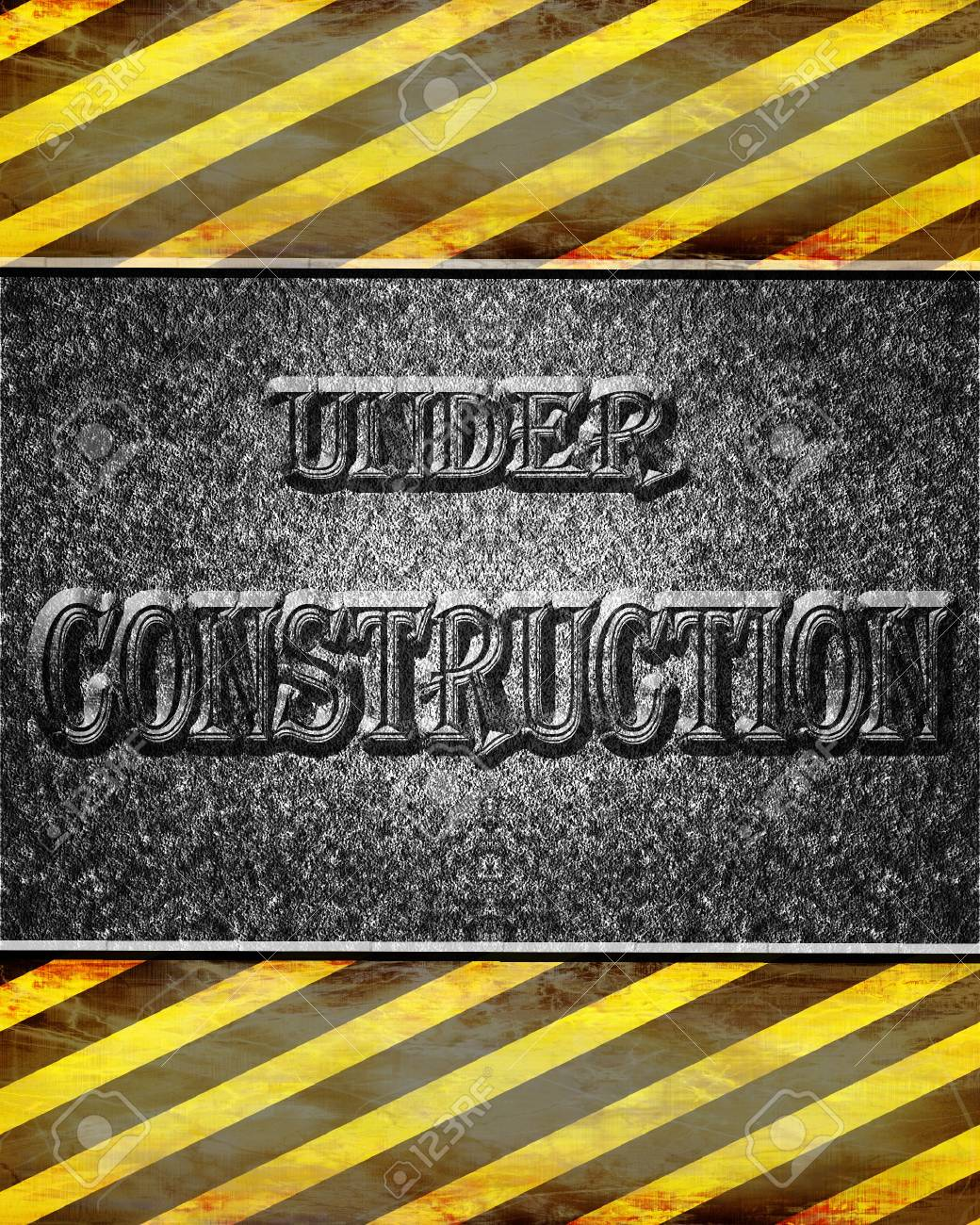 Asphalt background texture with under construction sign Stock Photo - 2843271