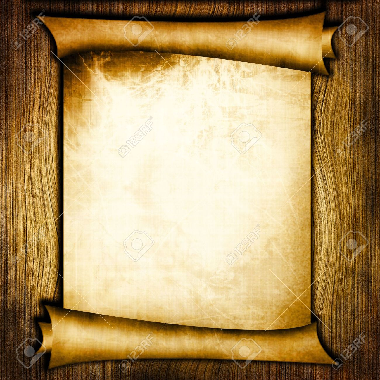 ancient scroll on wooden background stock photo, picture and, Powerpoint templates