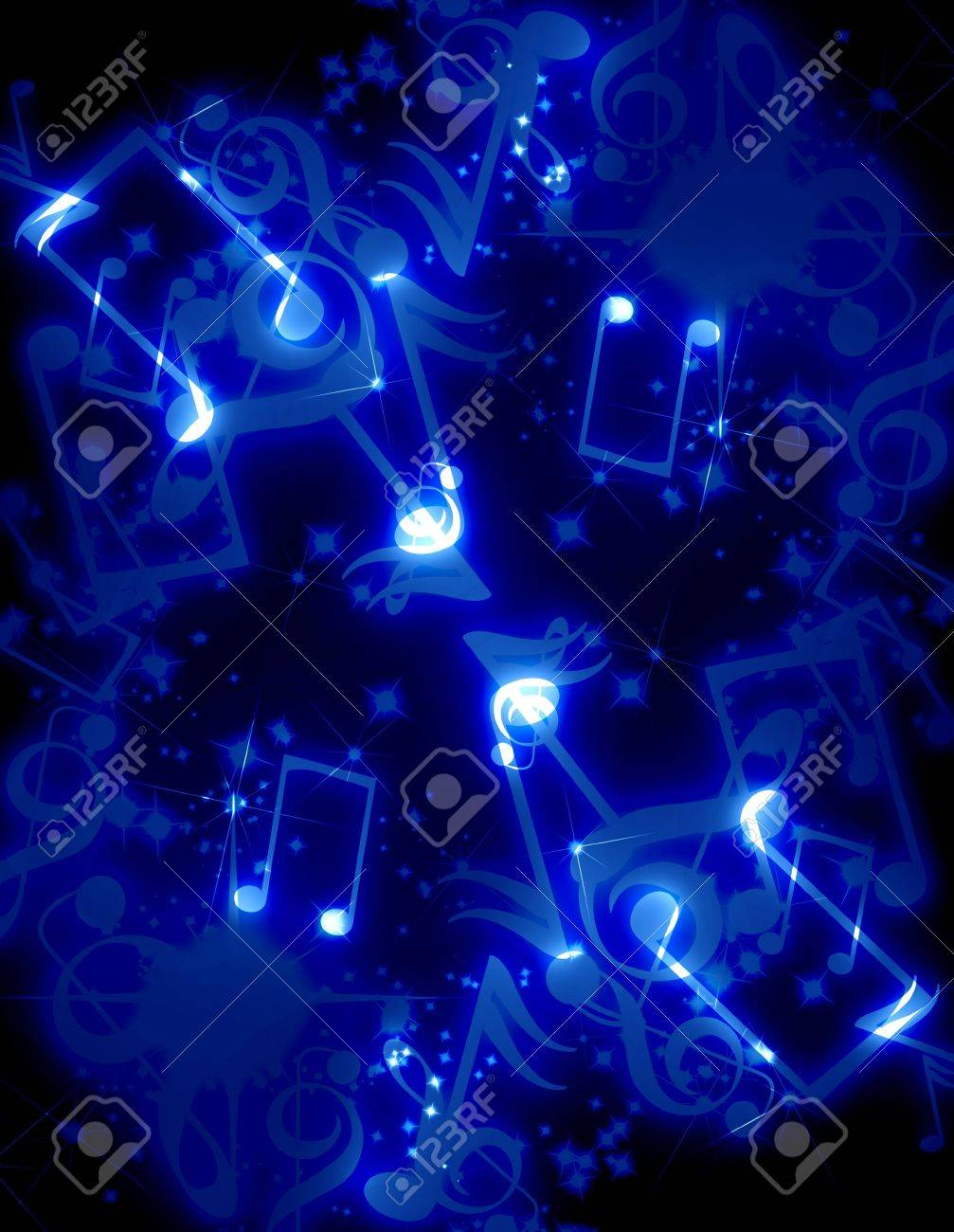 musical notes with sparkles on a blue background Stock Photo - 3095761