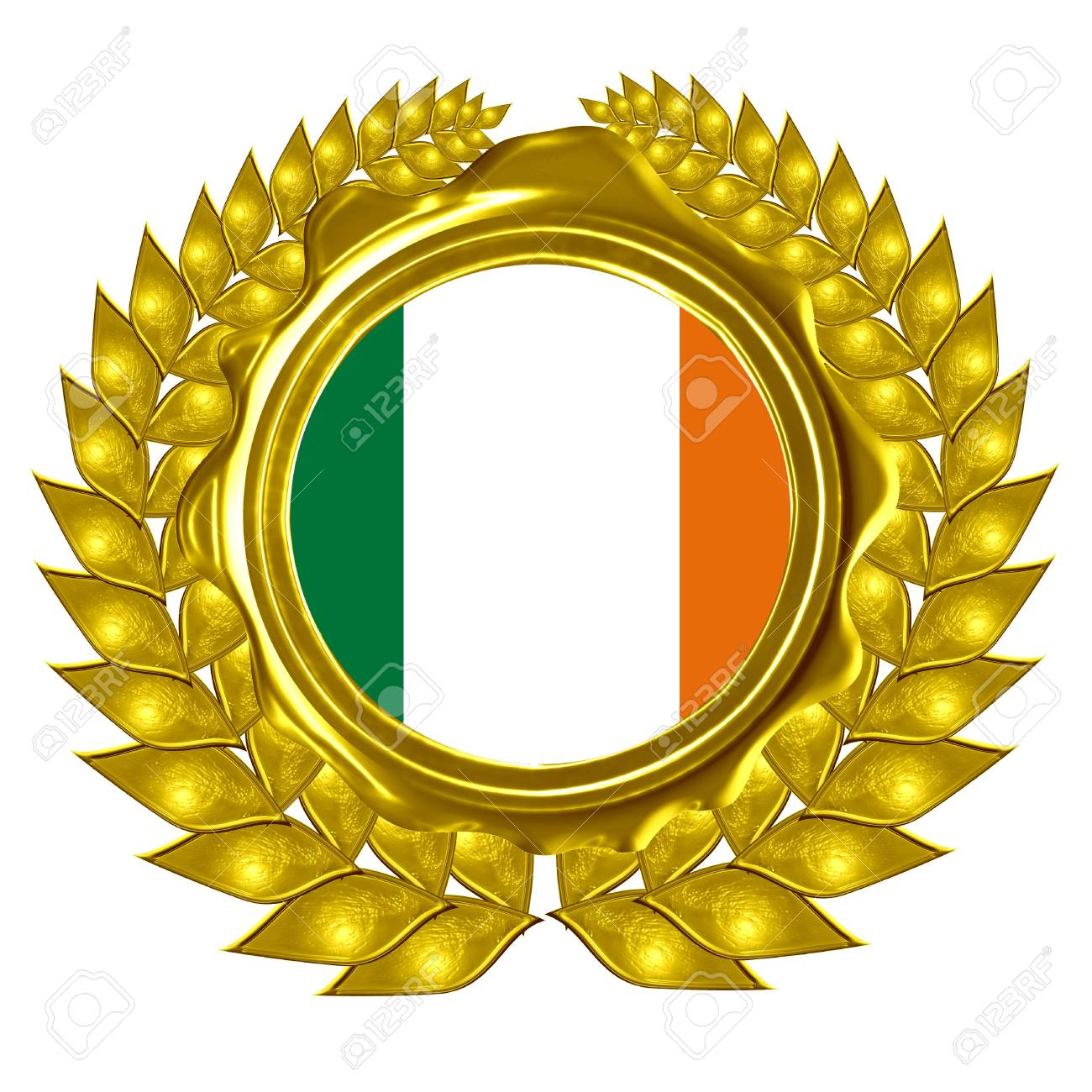 irish flag in a wreath Stock Photo - 3095832