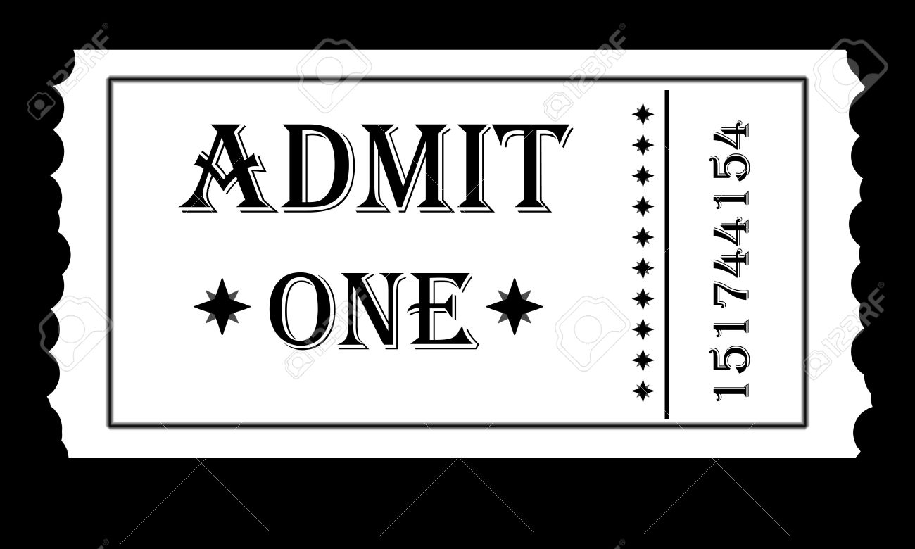 black and white admit one ticket for an event stock photo picture