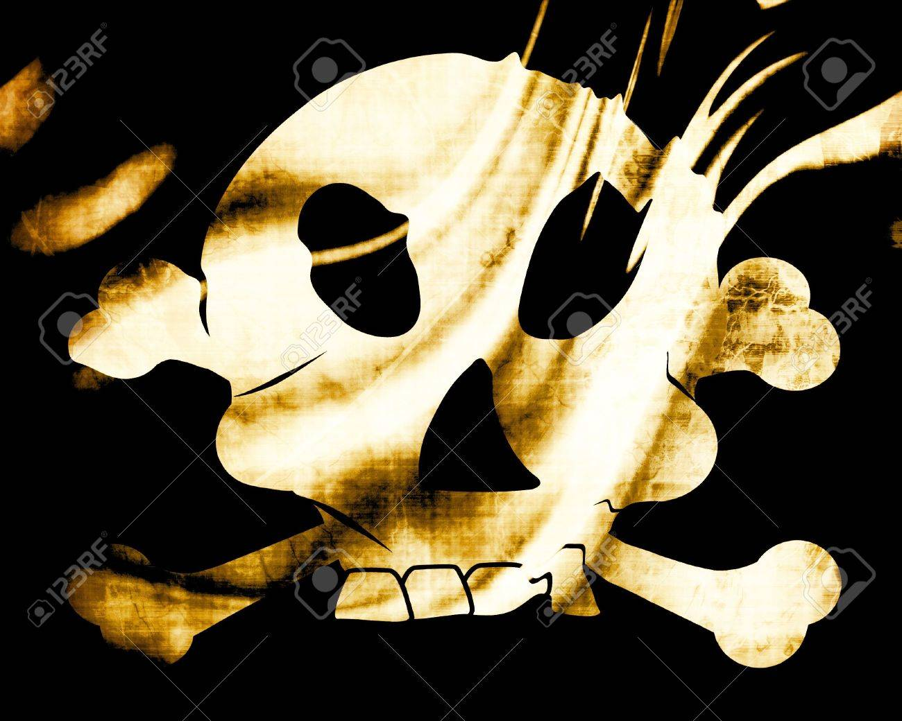 Old pirate flag with some soft folds Stock Photo - 3195536