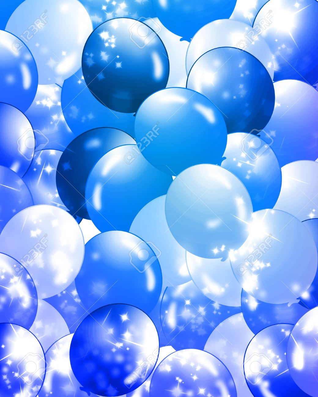 Balloons In Different Shades Of Blue Filling The Background Stock ...