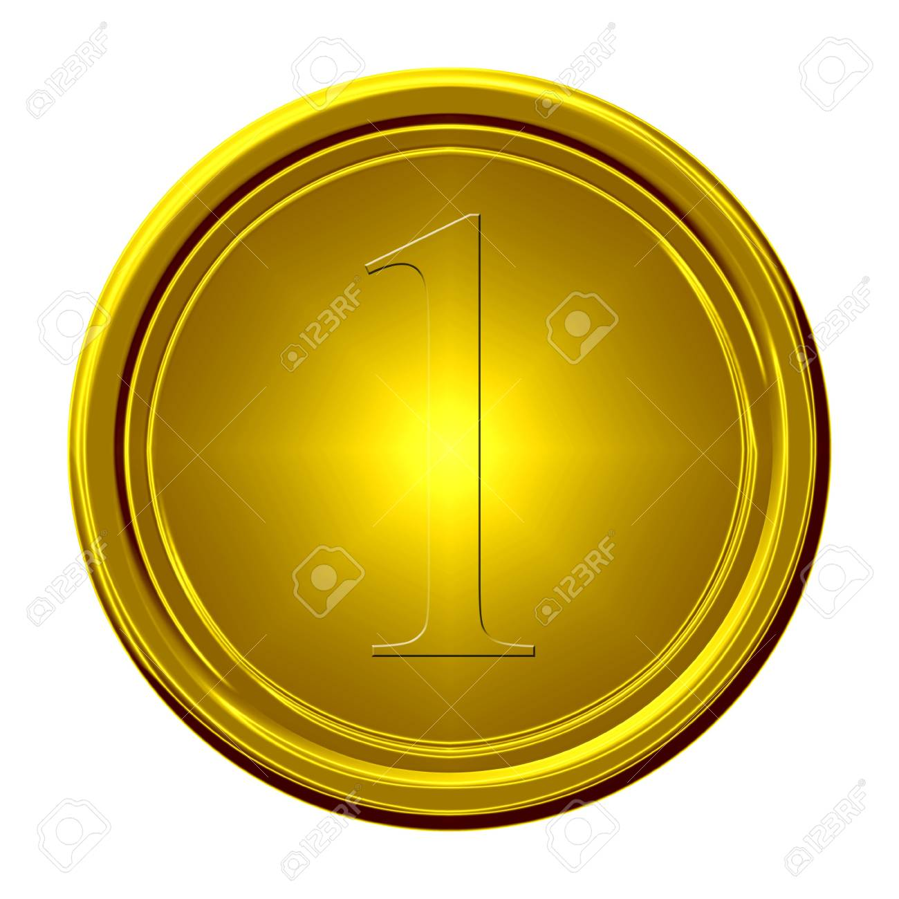 gold medal on a solid white background Stock Photo - 3201411