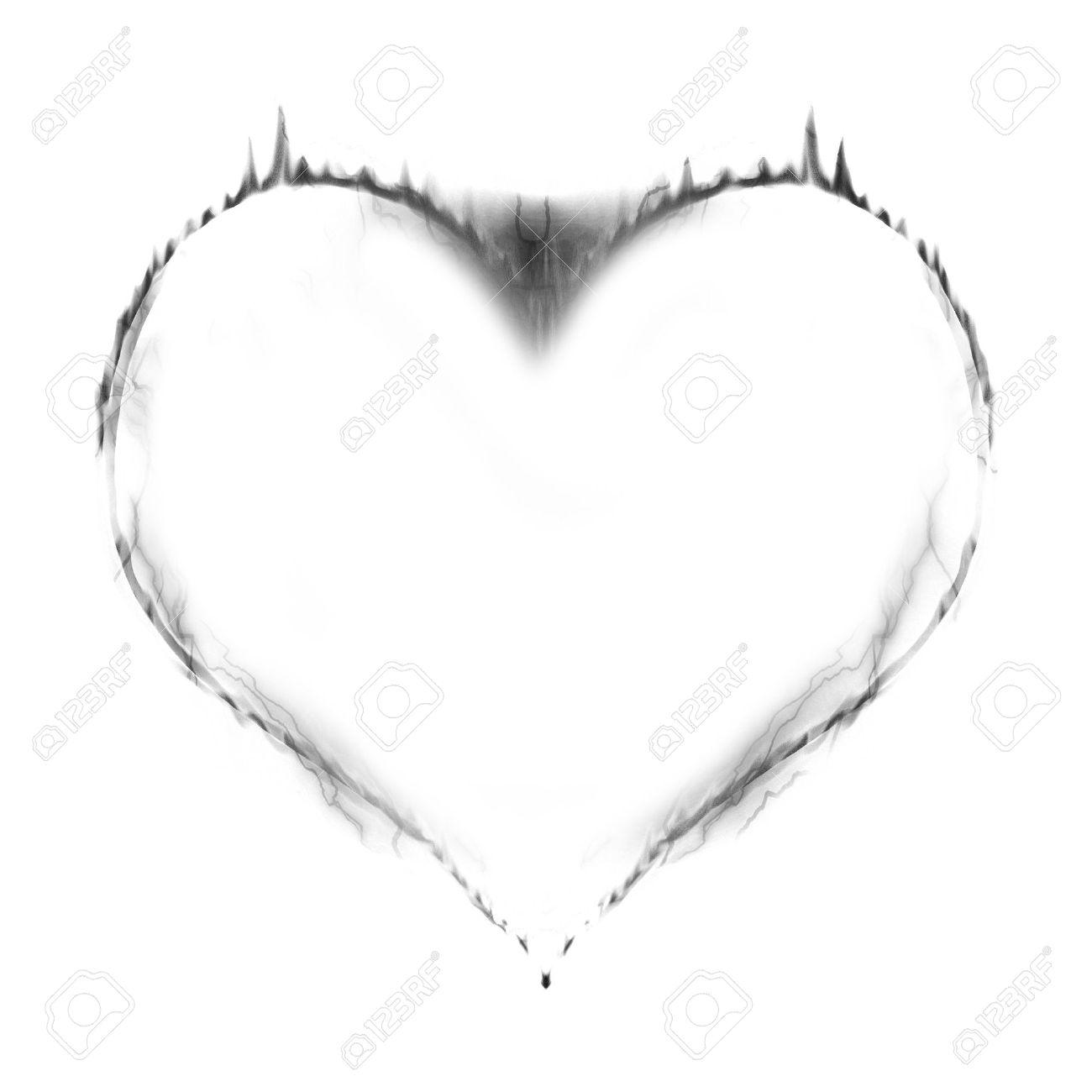 banque dimages coeur en feu en noir et blanc