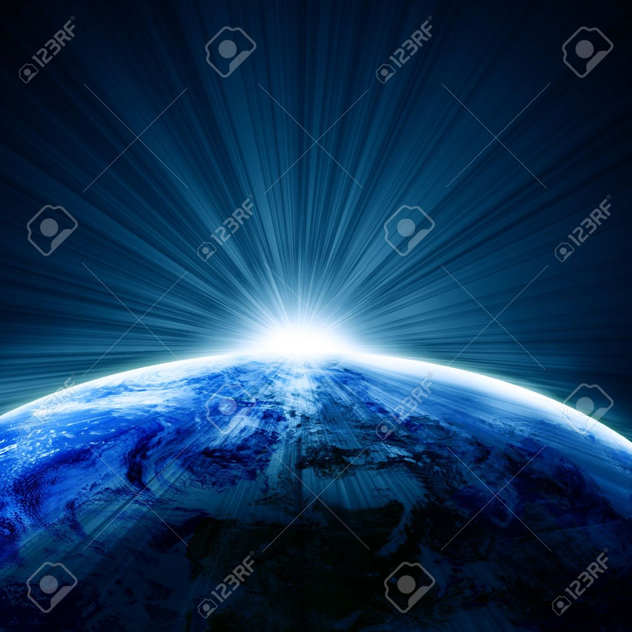 Earth as seen from space with sunrise Stock Photo - 3640083