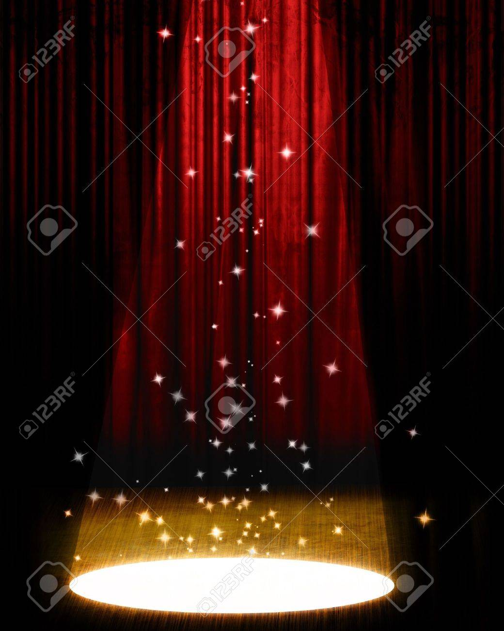 Stage curtains spotlight - Movie Or Theater Curtain With Bright Spotlight Stock Photo 3688735