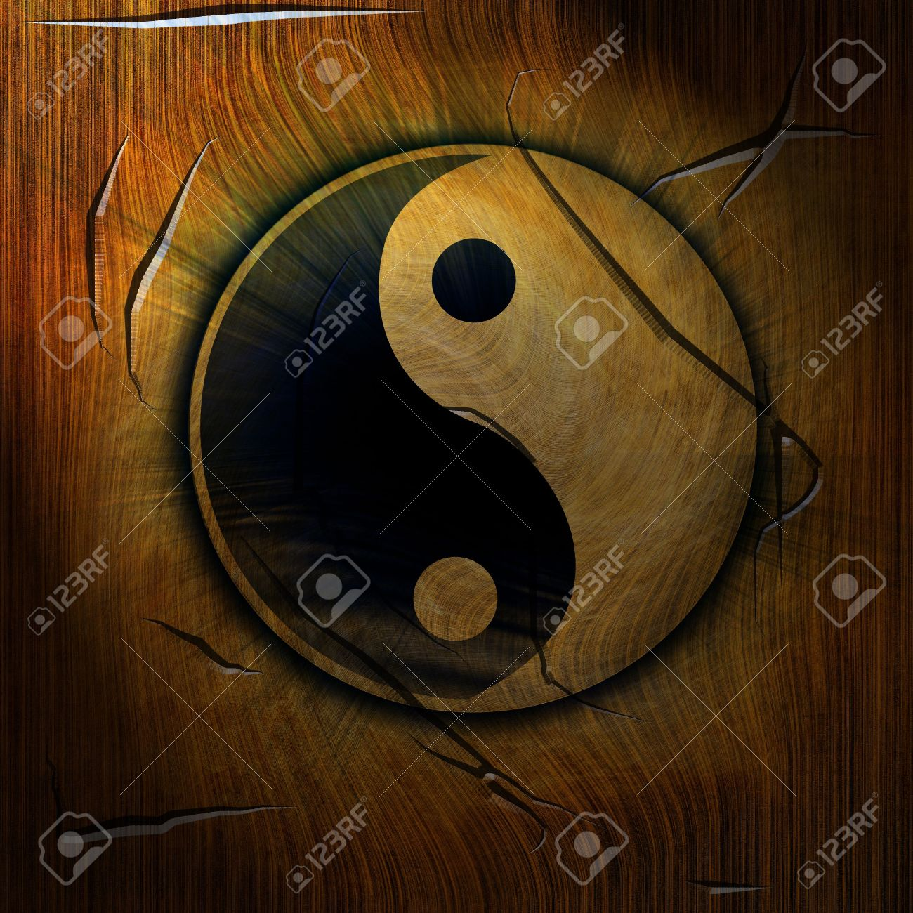 yin yang symbol on a wooden background Stock Photo - 3689038