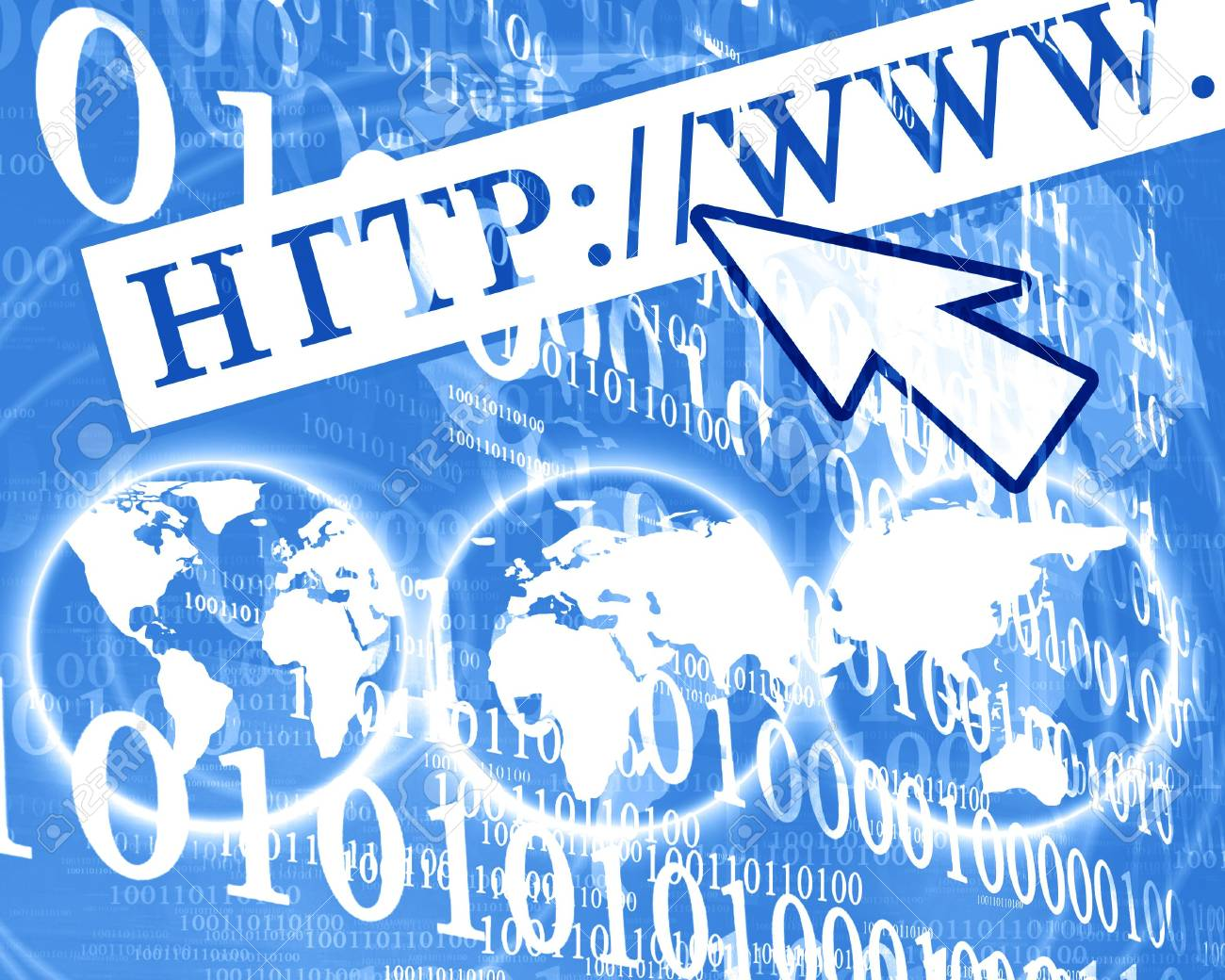 Arrow pointed at internet button Stock Photo - 3753499