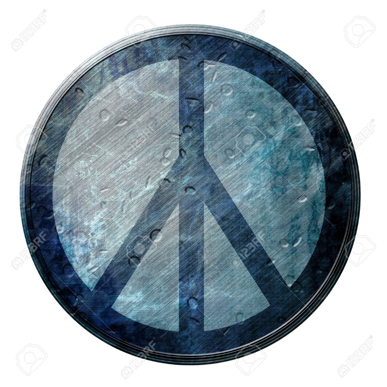 Grunge Flower Power Symbol On A White Background Stock Photo