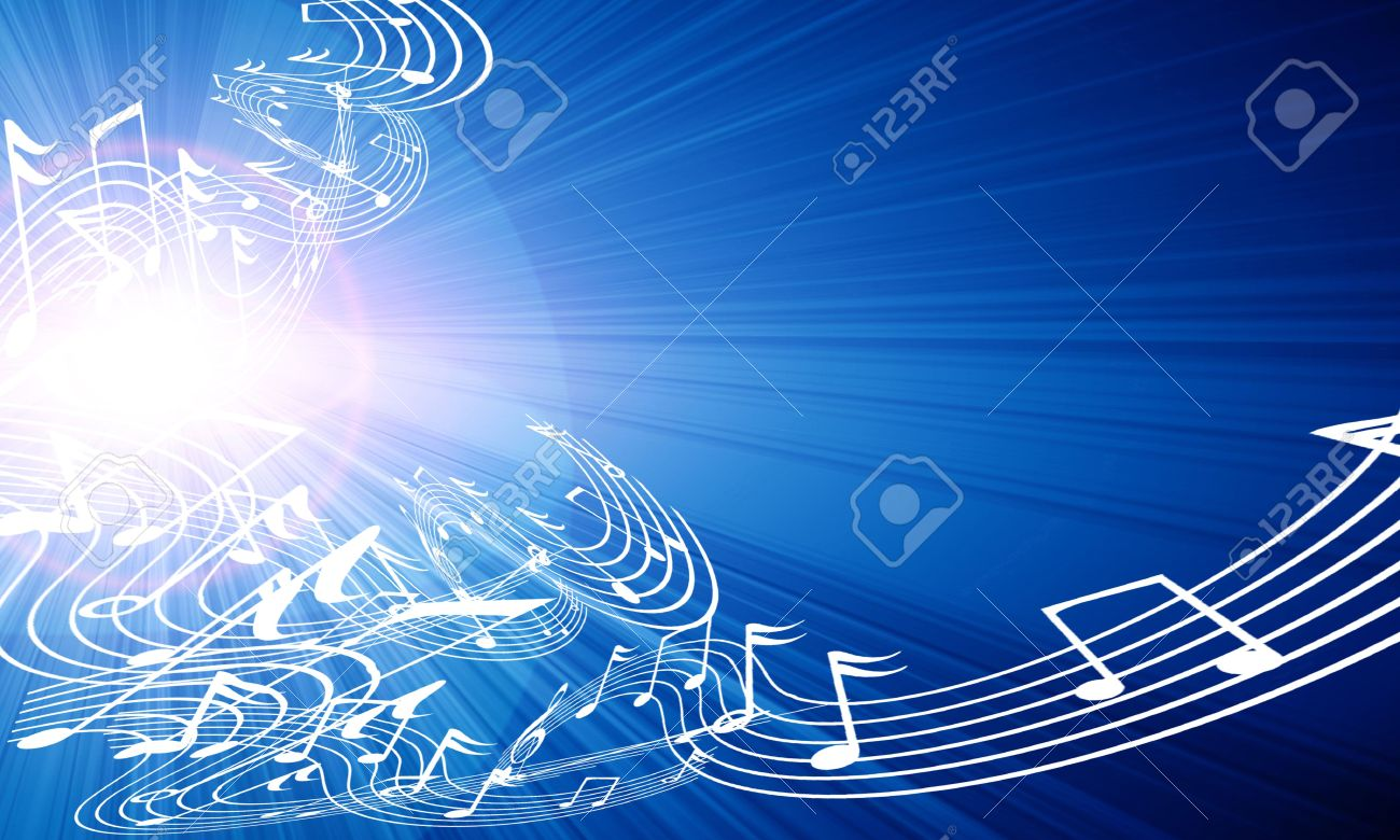 music notes on a soft blue background Stock Photo - 3826432
