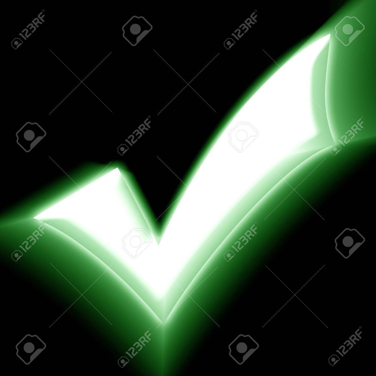 green approved tick on a black background Stock Photo - 3861134