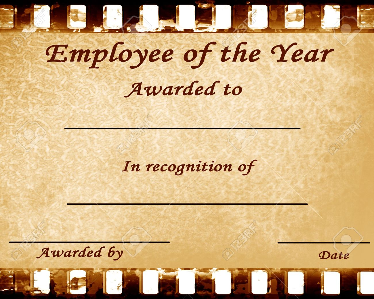 employee of the year certificate with some stains stock photo