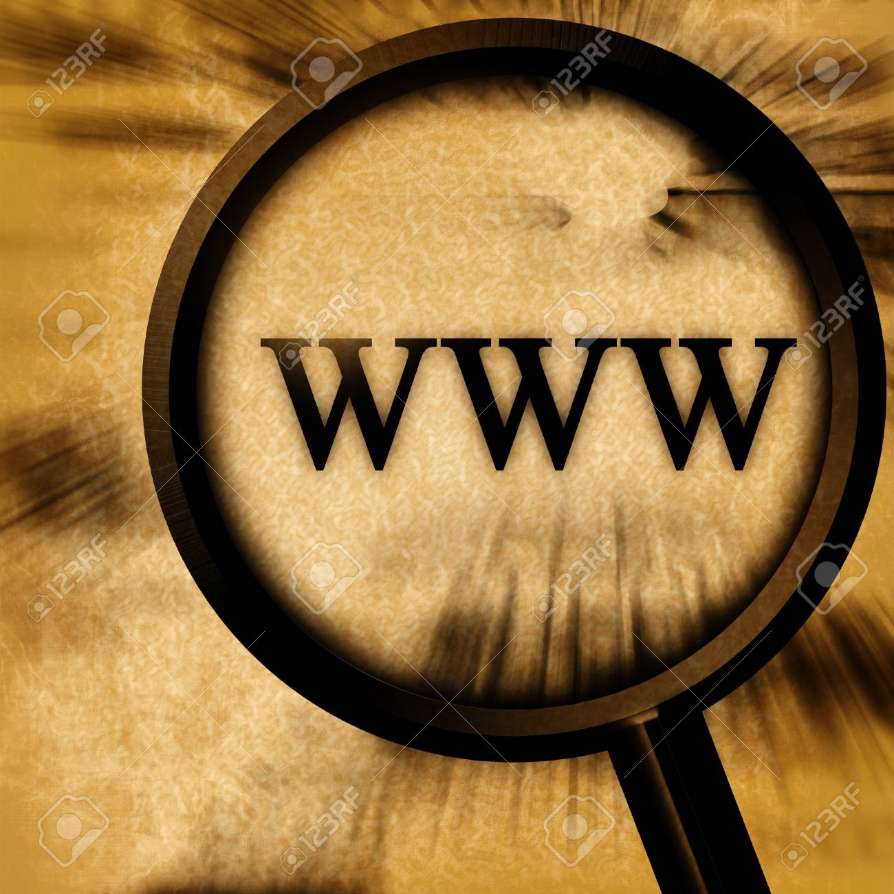 www on a grunge background with a magnifier Stock Photo - 3964600