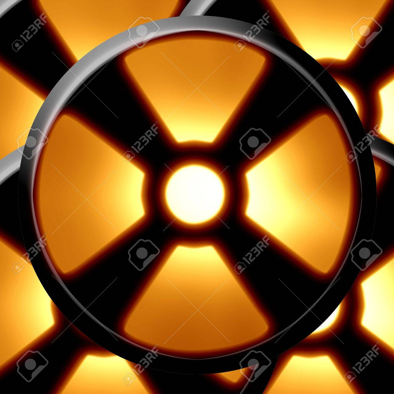 Yellow nuclear warning sign on a dark background Stock Photo - 4048511