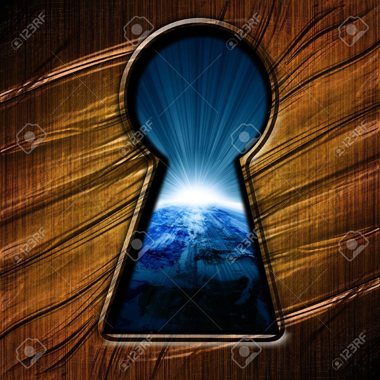 key hole with an outlook on planet earth Stock Photo - 4200193