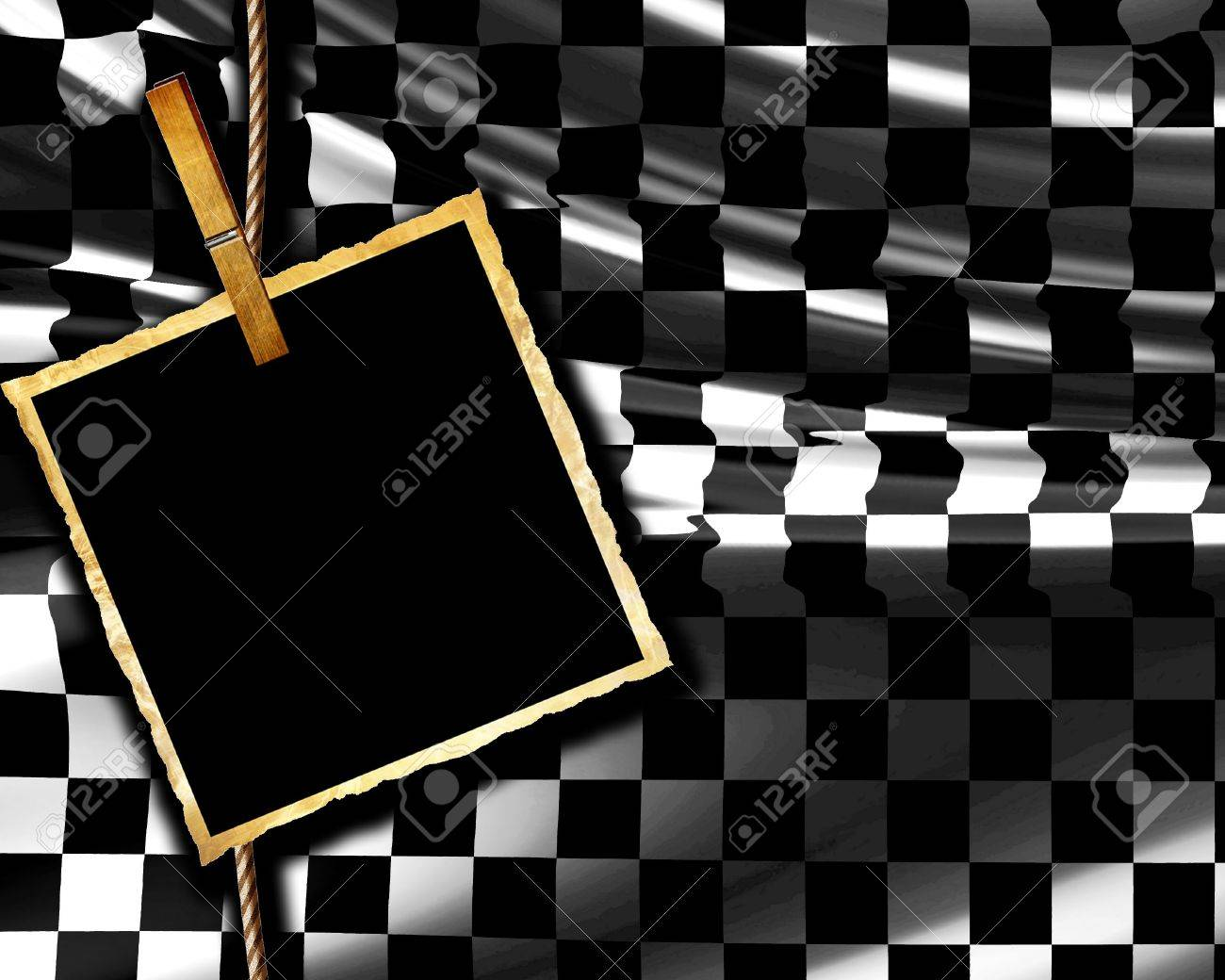 Checkered flag waving in the wind with old picture Stock Photo - 4908004
