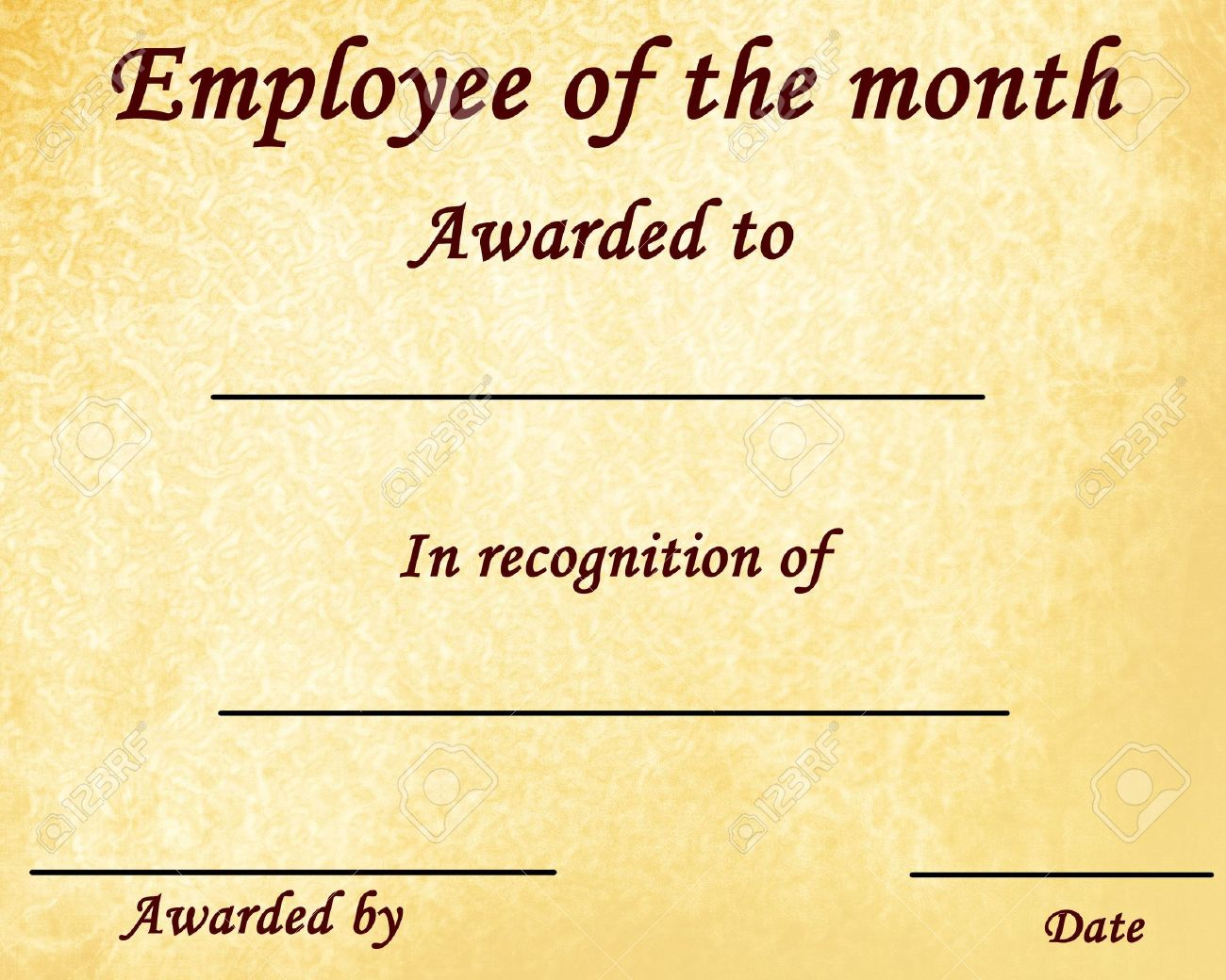 Employee Of The Month Certificate With Some Stains Stock Photo ...