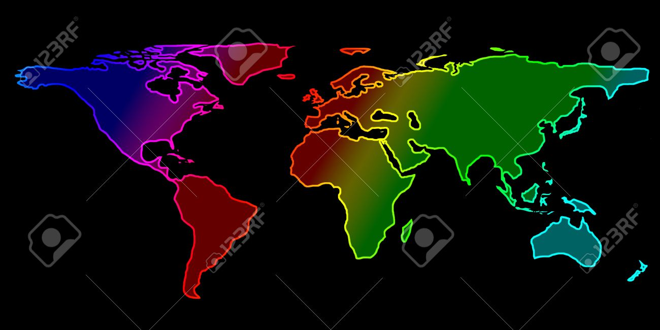 Colorful world map on a black background stock photo picture and colorful world map on a black background stock photo 5160538 gumiabroncs Choice Image