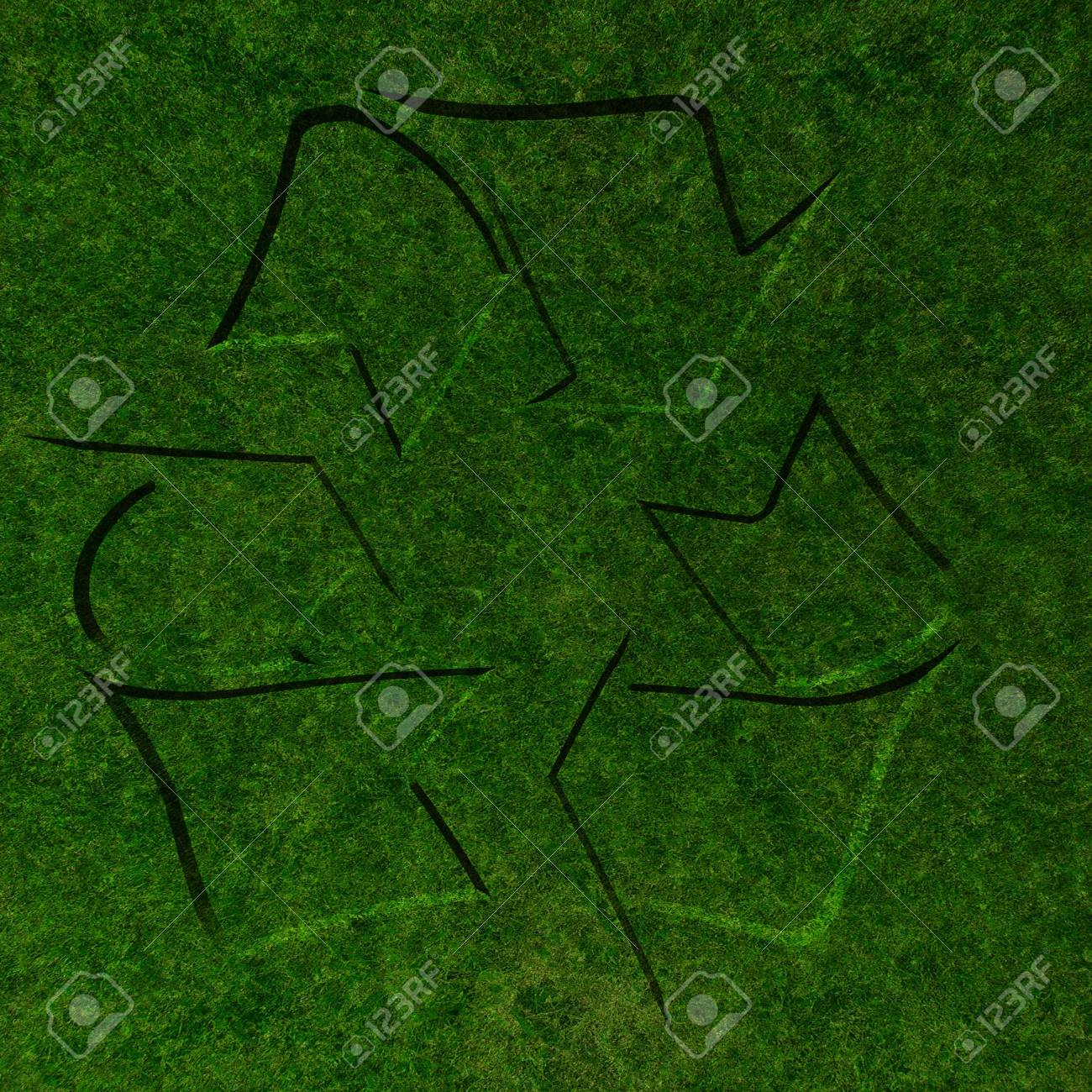 Grass Texture With The Recycle Symbol In It