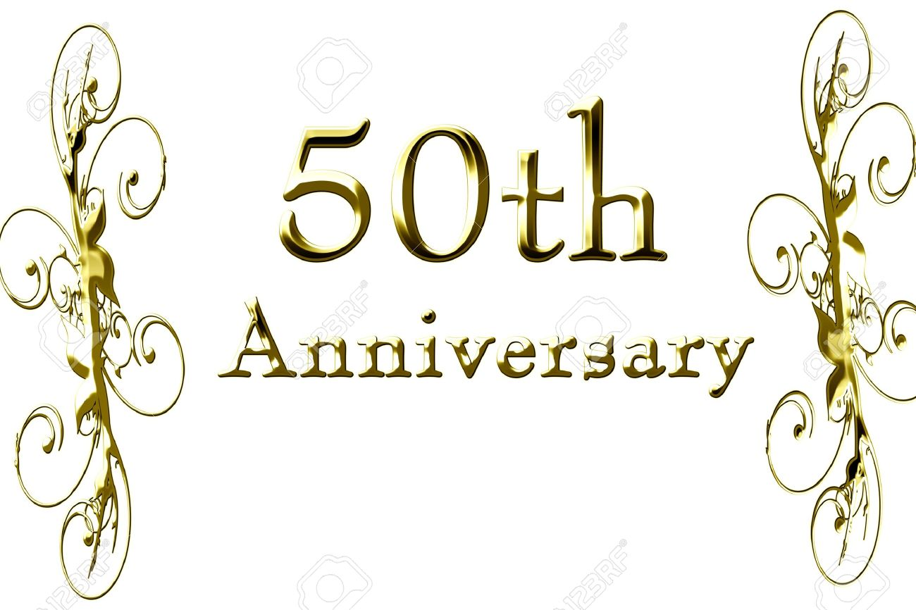 Th Anniversary On A Solid White Background Stock Photo Picture - Best of free clip art 50th anniversary design
