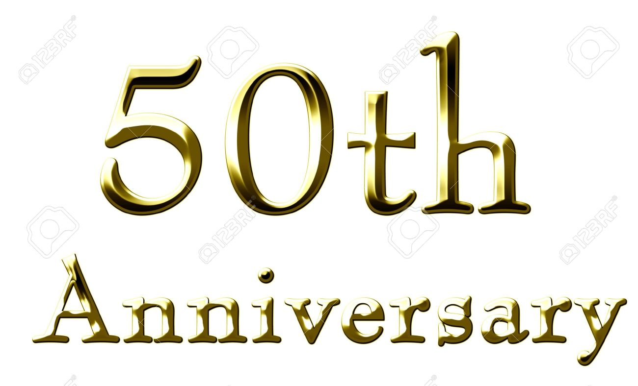 50th anniversary on a solid white background stock photo picture