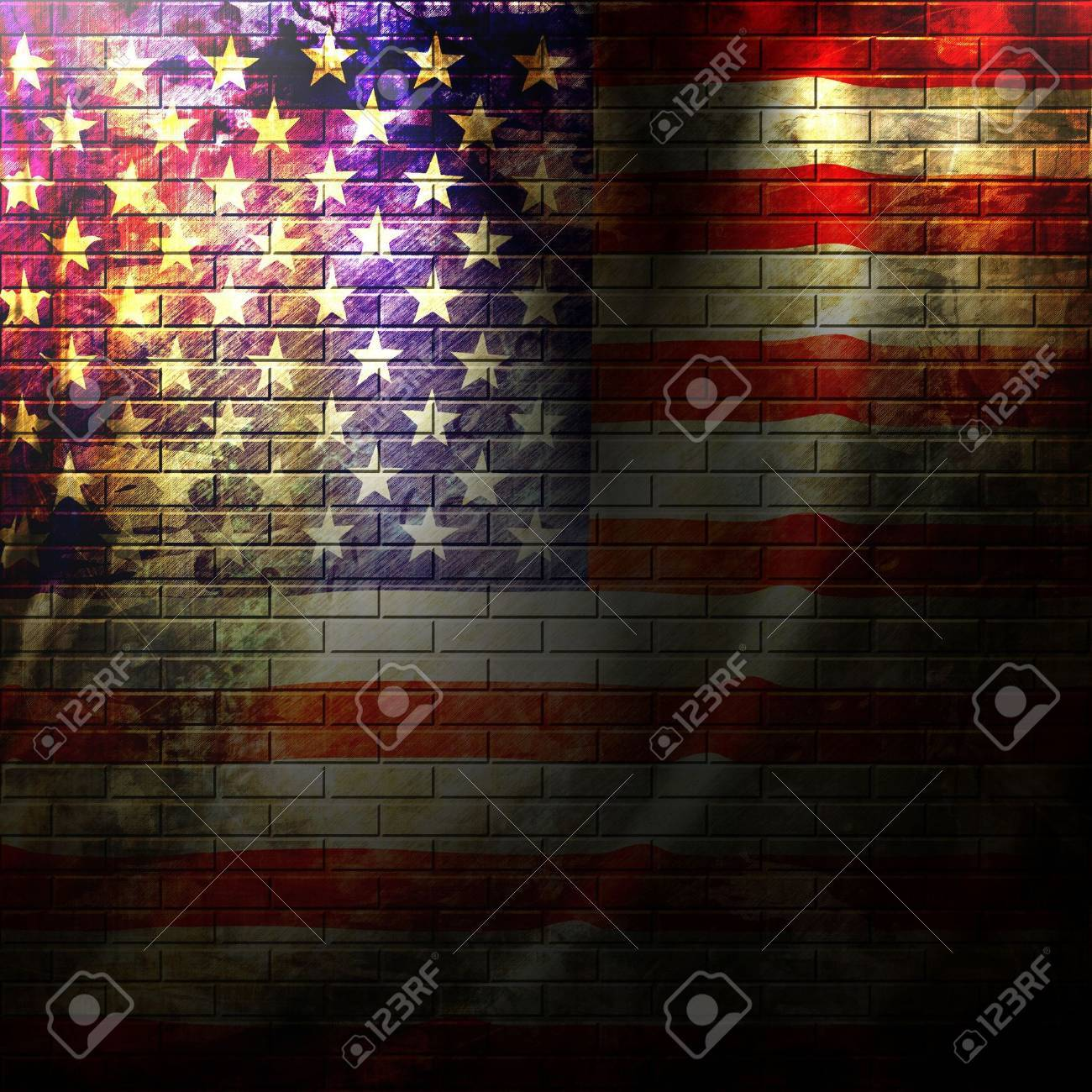 american flag painted on a grunge brick wall Stock Photo - 5809318