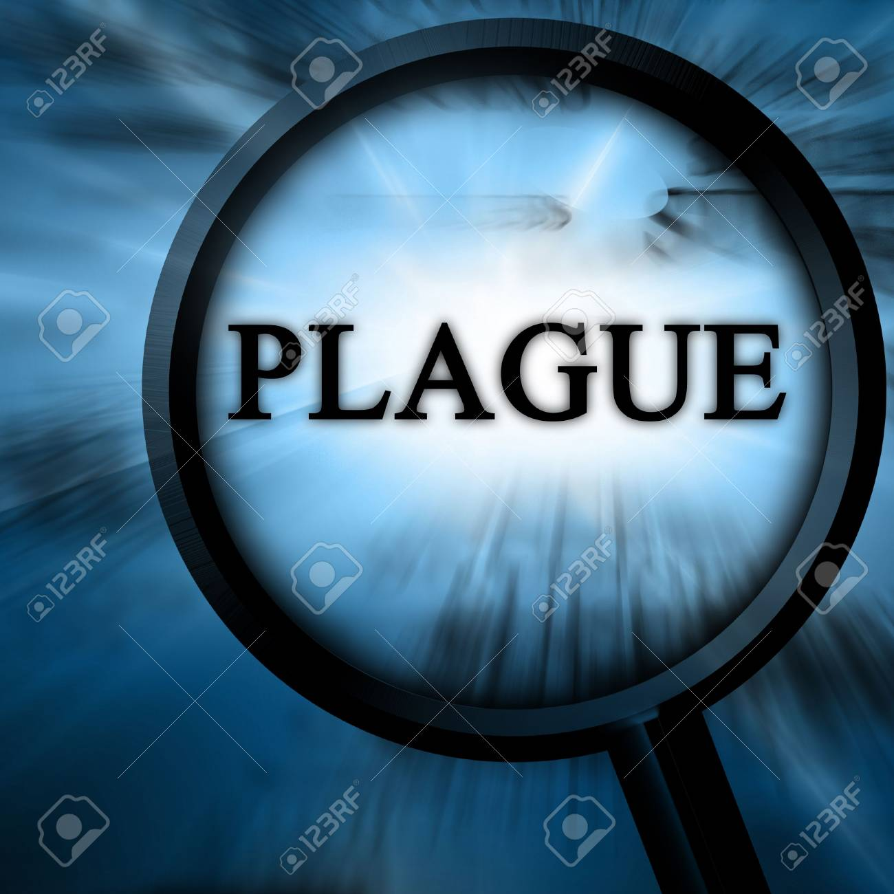plague on a blue background with a magnifier Stock Photo - 5809030
