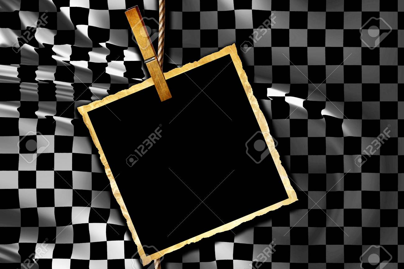 Checkered flag waving in the wind with old picture Stock Photo - 5957634