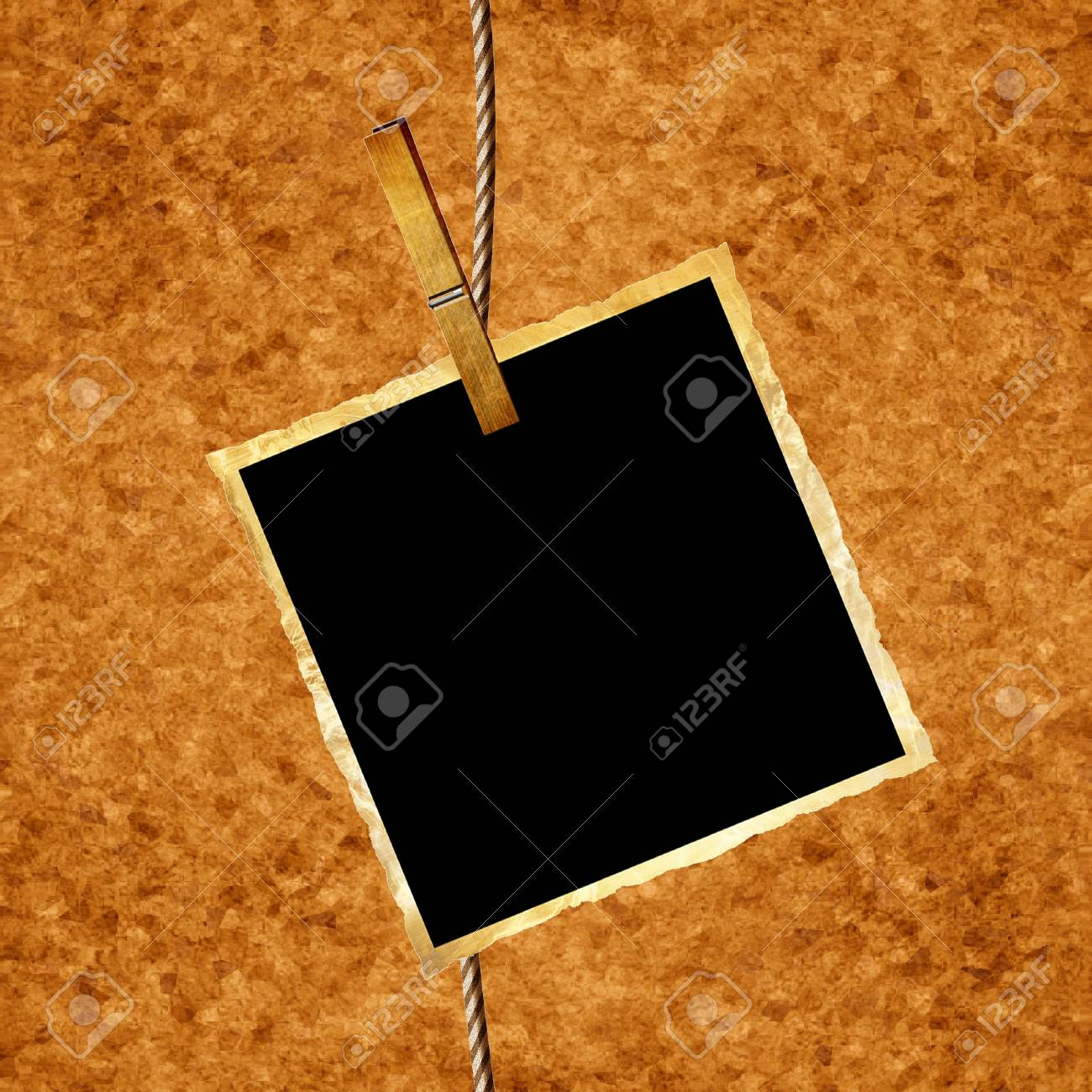 single old picture attached to a string Stock Photo - 5957447