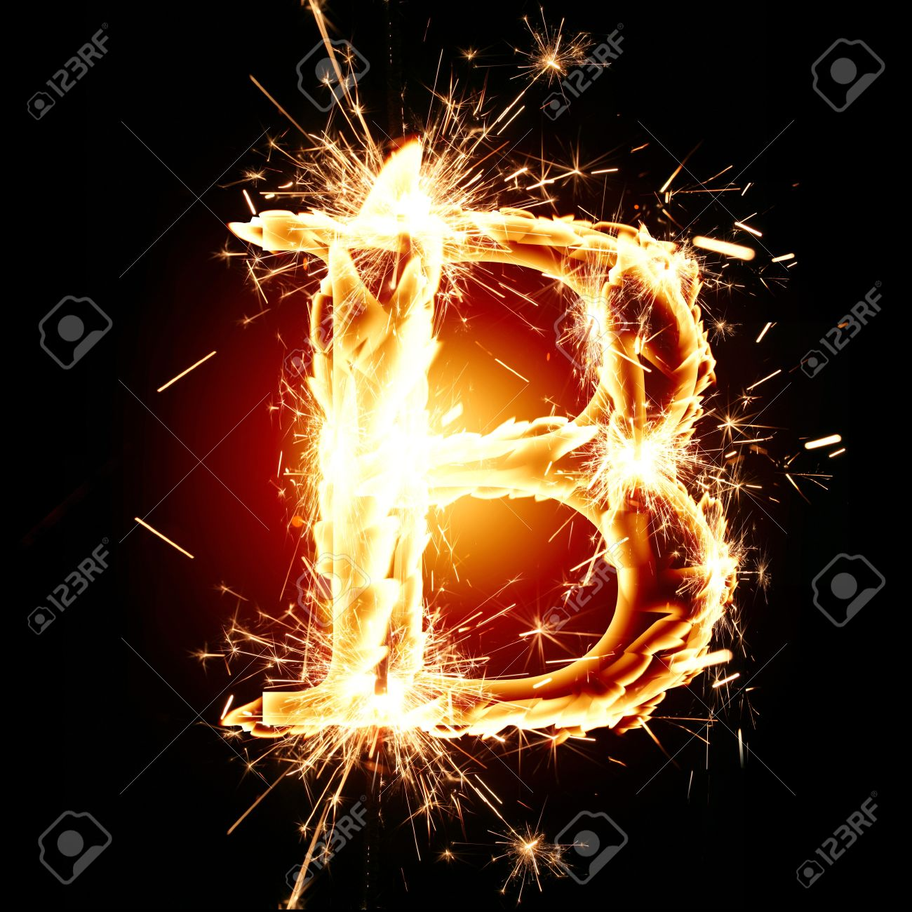 B Letter In Fire sparkling font letter B on a