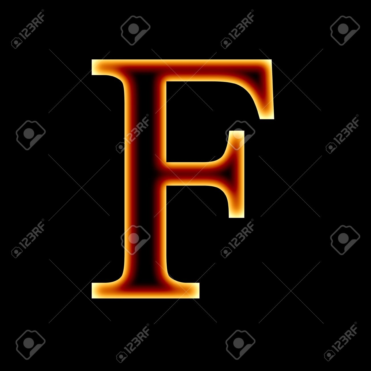 Fire Font Letter F On A Dark Background Stock Photo