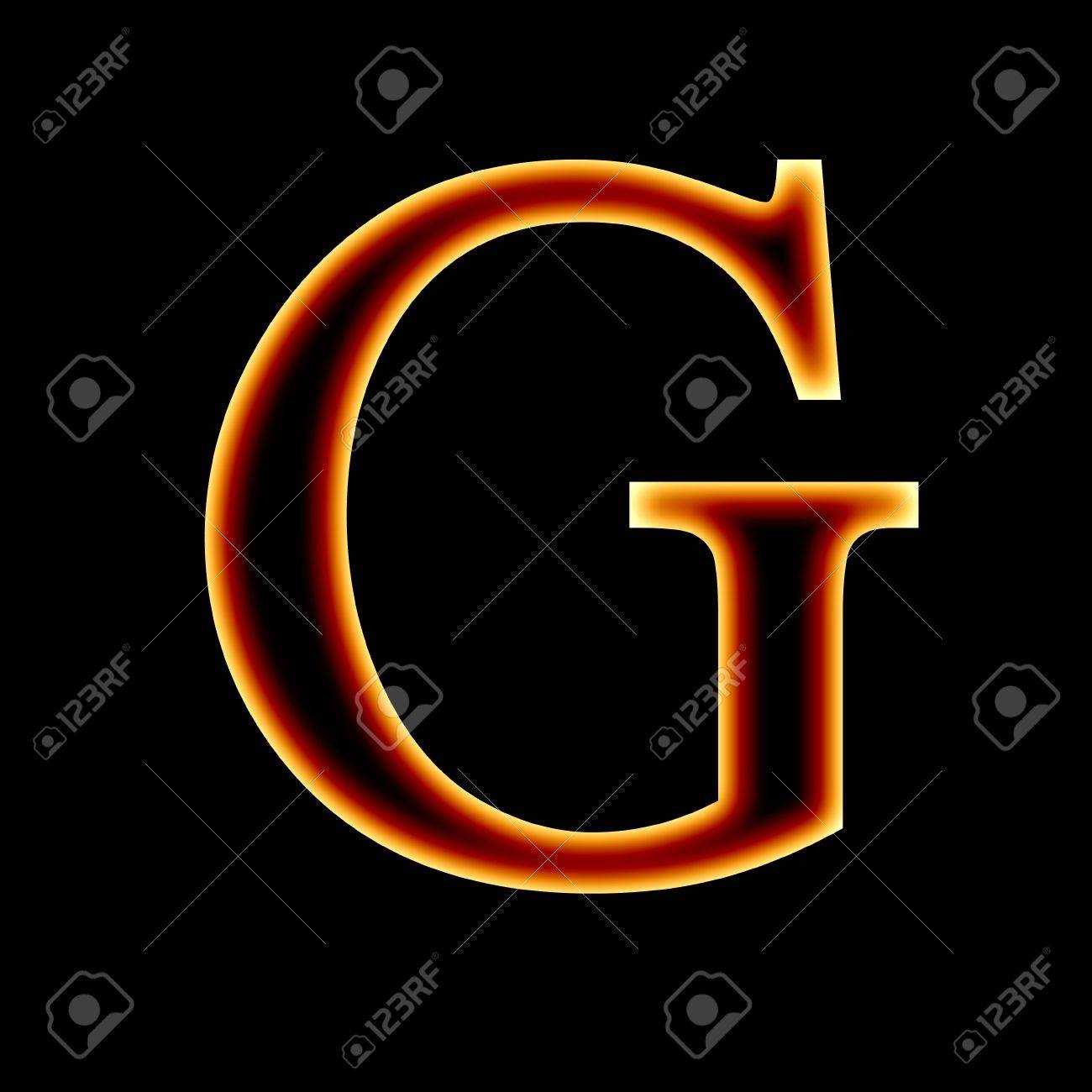 Fire Font Letter G On A Dark Background Stock Photo