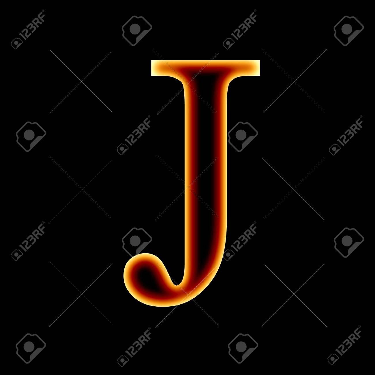 Fire Font Letter J On A Dark Background