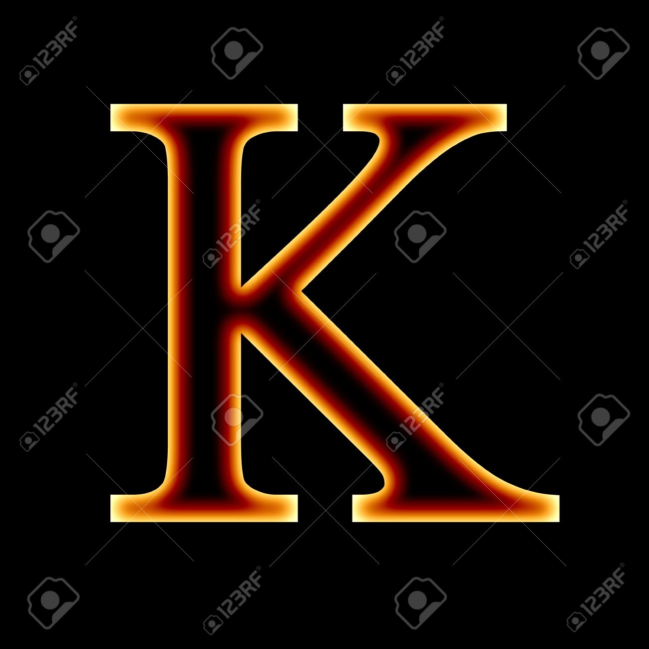 Fire Font Letter K On A Dark Background Stock Photo Picture And