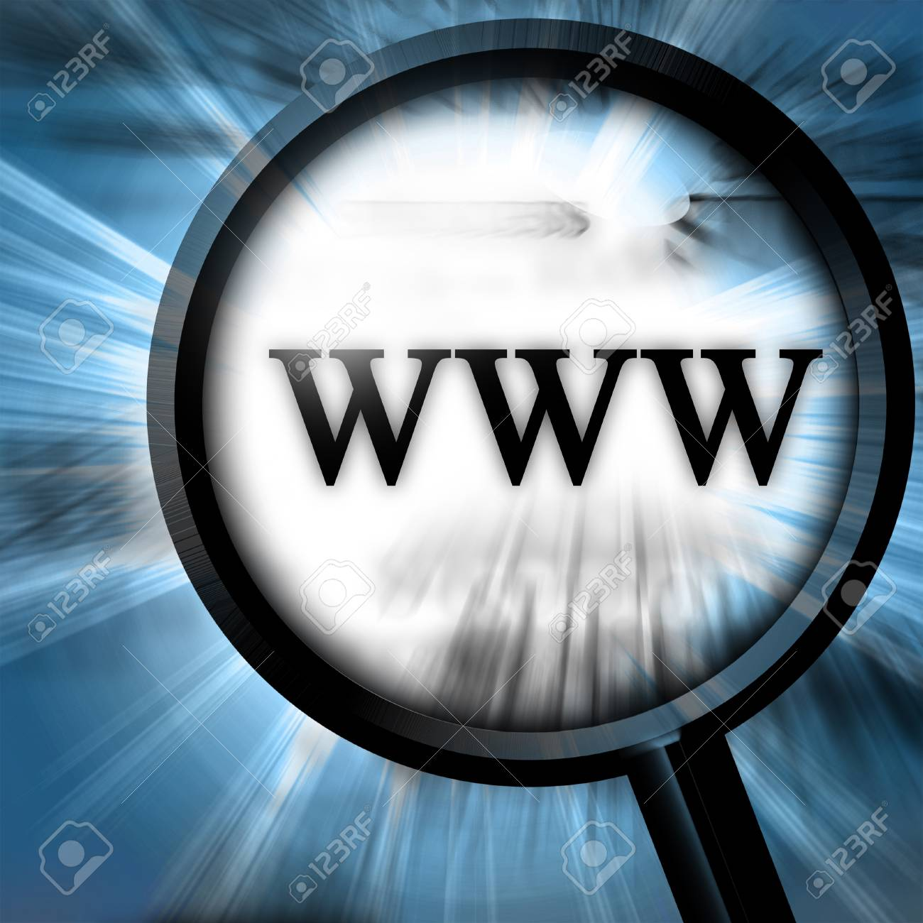 www on a blue background with a magnifier Stock Photo - 10342055