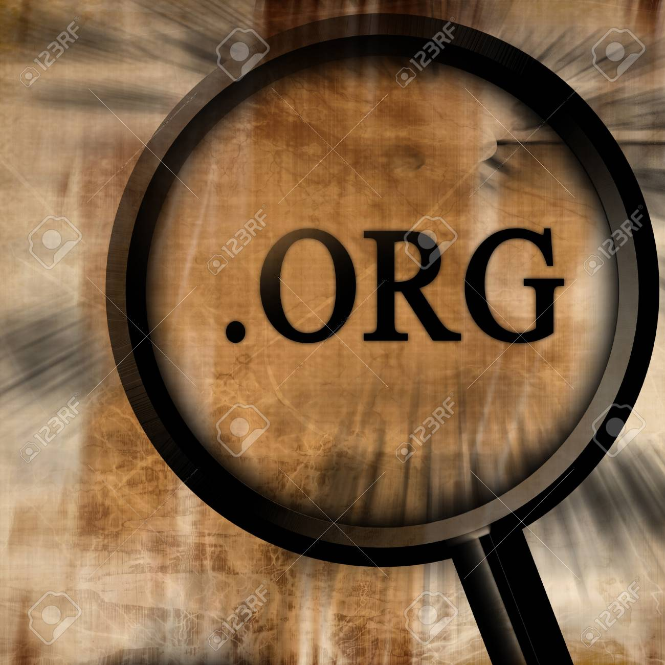 org with magnifier on a brown background Stock Photo - 10342365