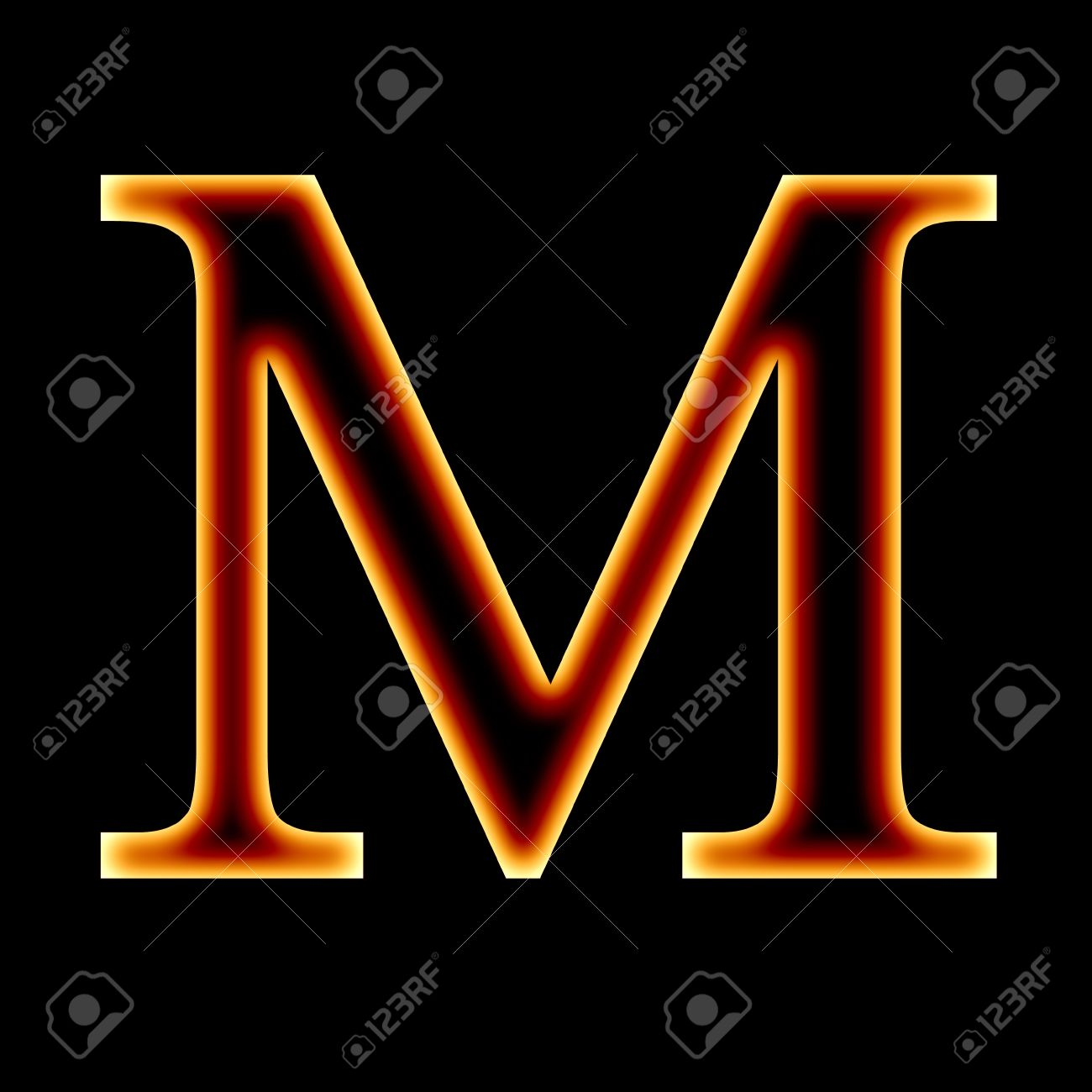 Fire Font Letter M On A Dark Background Stock Photo Picture And