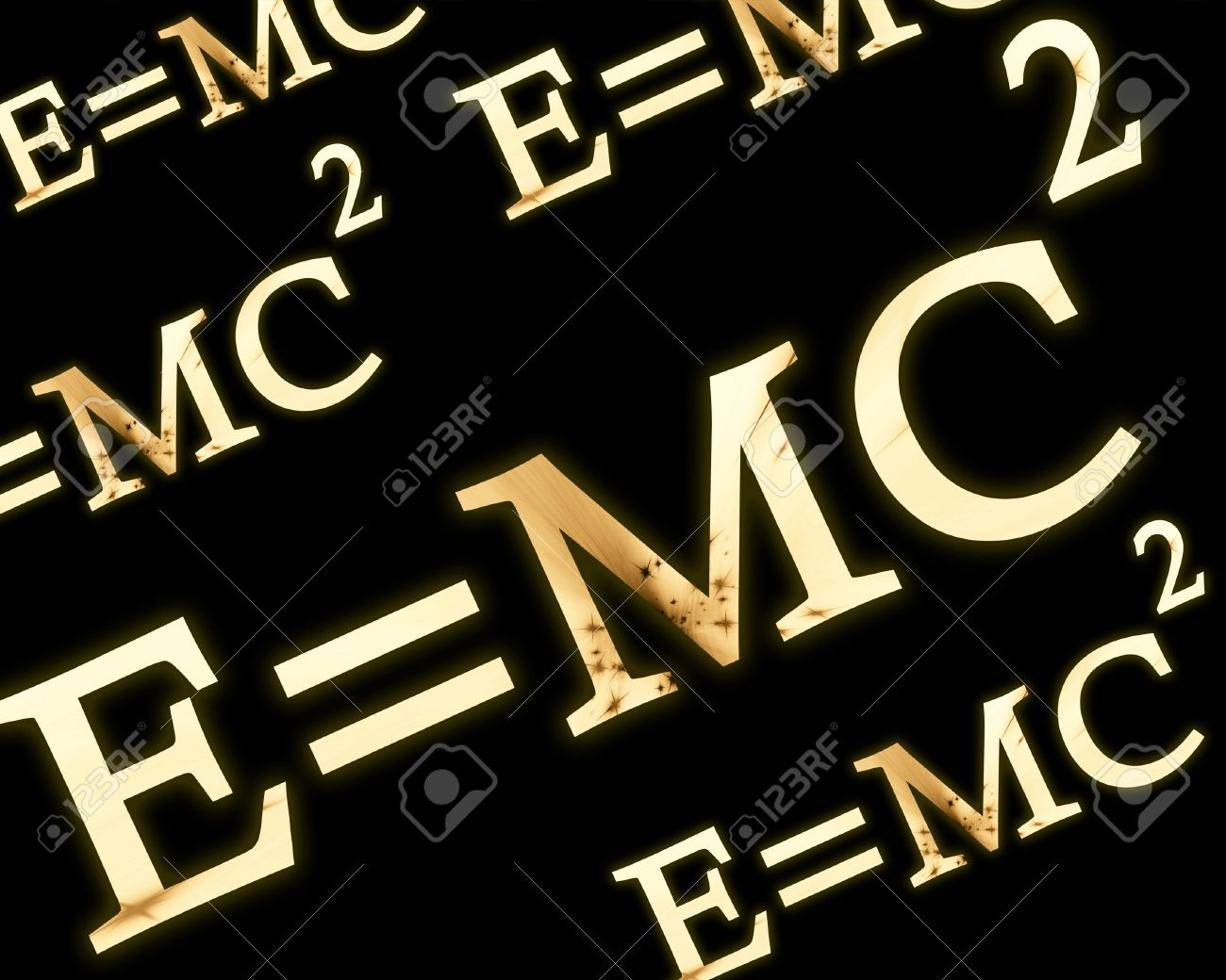 Emc2 Formula On A Solid Black Background Stock Photo Picture And
