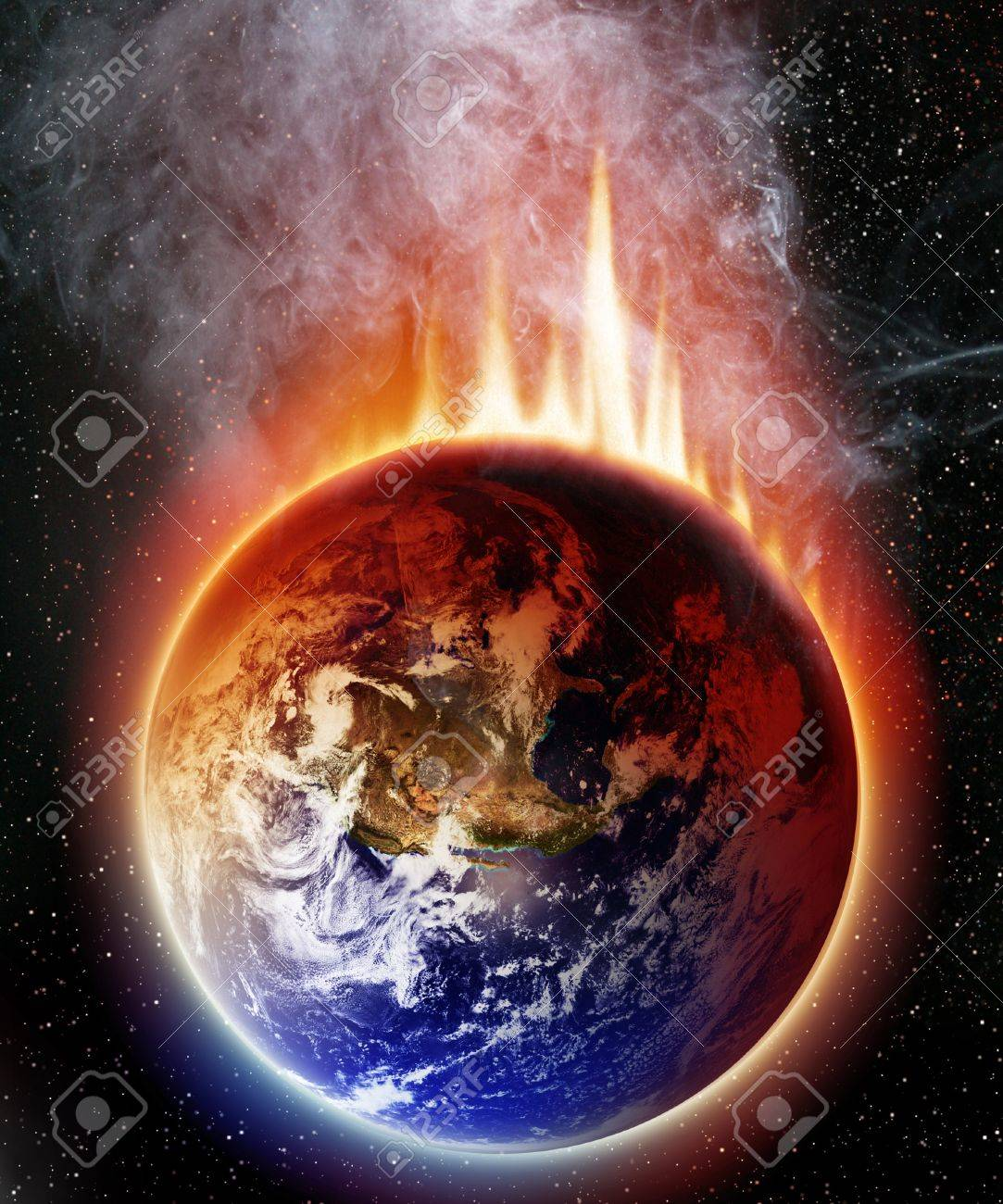 Apocalyptic view of planet earth on a dark space background Stock Photo - 14670163