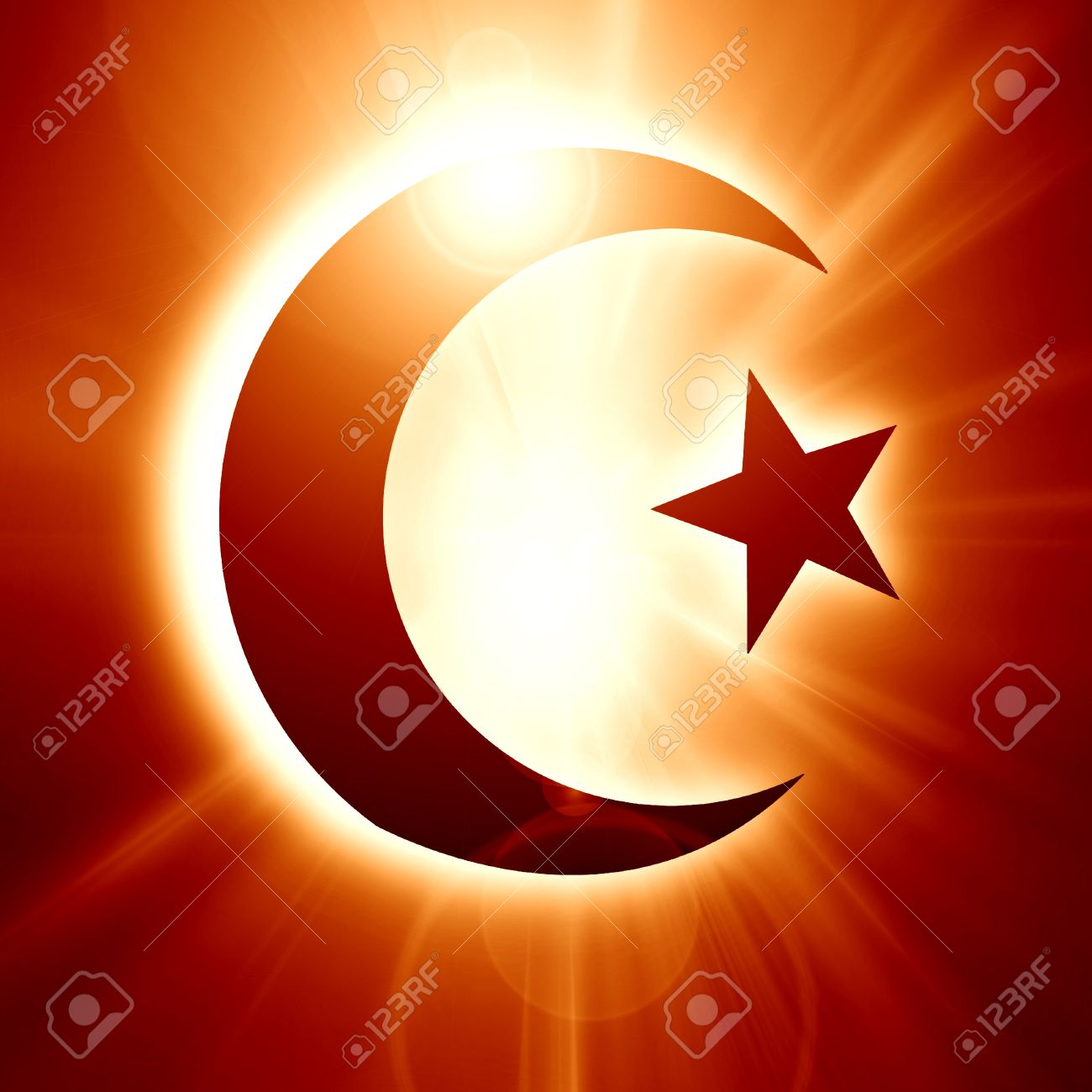 The symbol of Islam with a crescent and star Stock Photo - 14670064