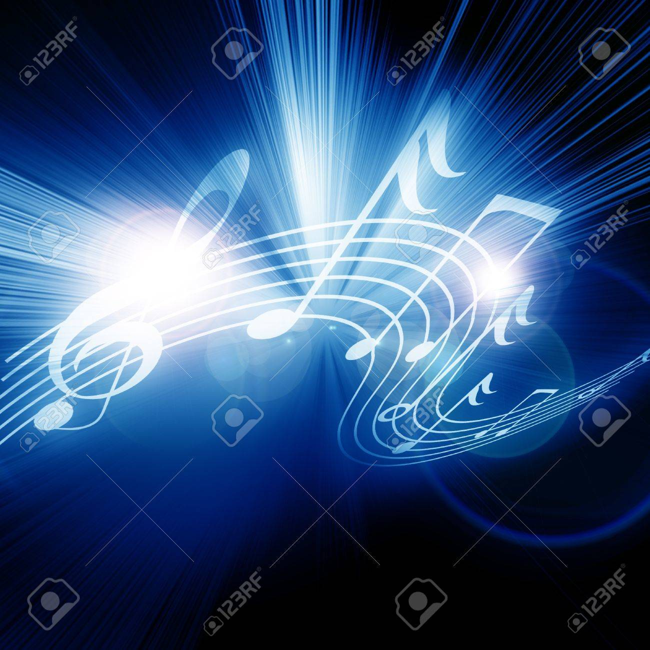 Colorful musical notes on a soft dark background Stock Photo - 14949411