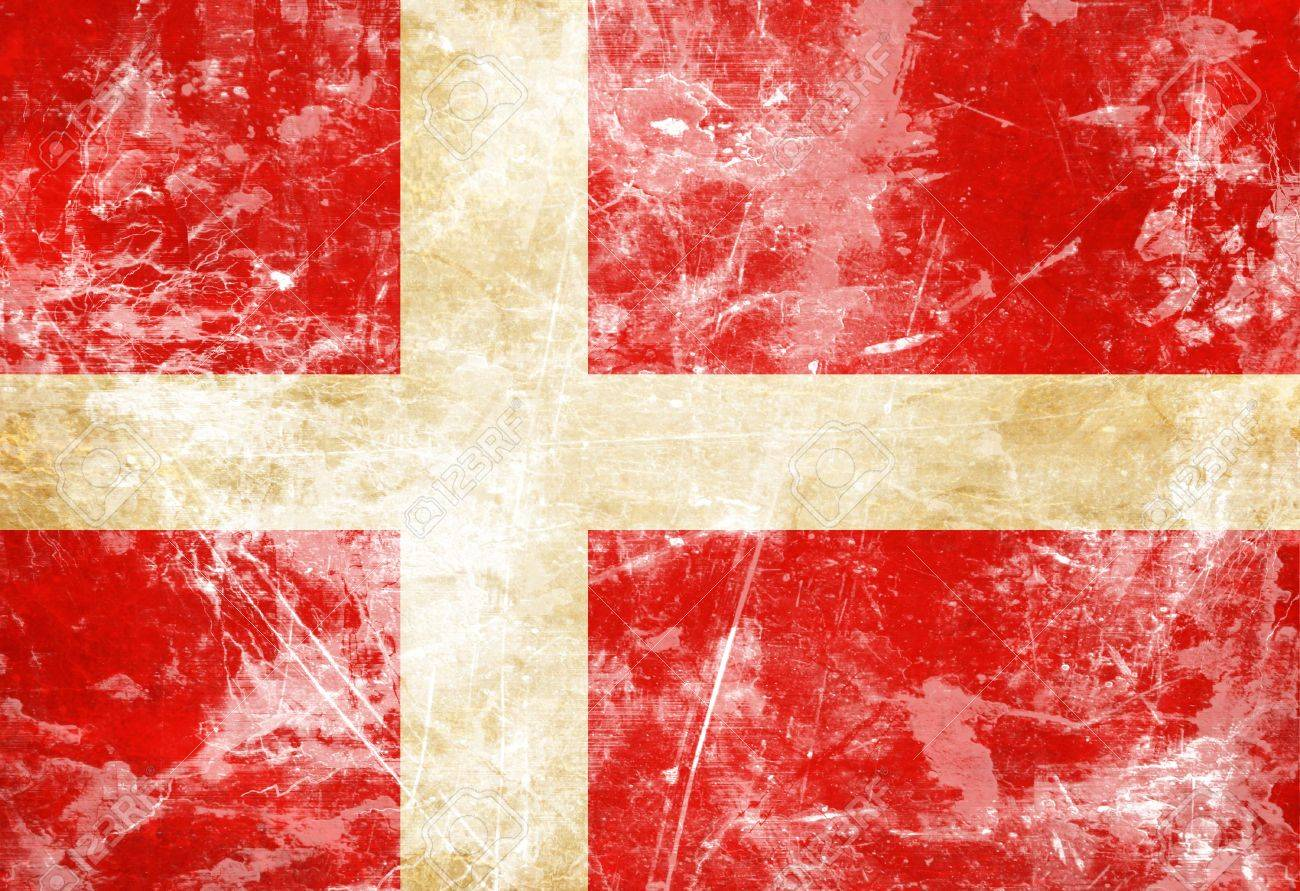 danish flag with a vintage and old look stock photo picture and