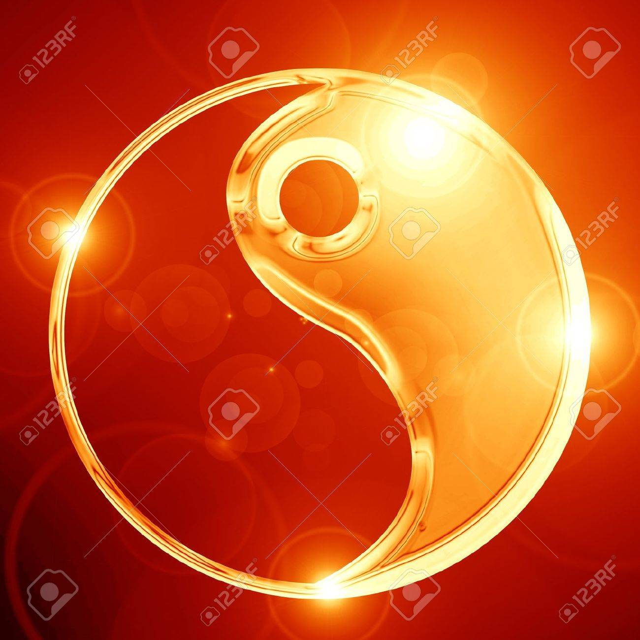 Yin Yang sign on a glowing background Stock Photo - 15009313