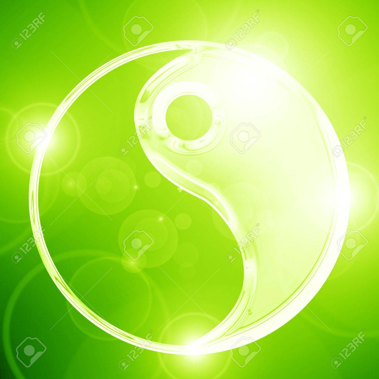 Yin Yang sign on a glowing background Stock Photo - 15139960