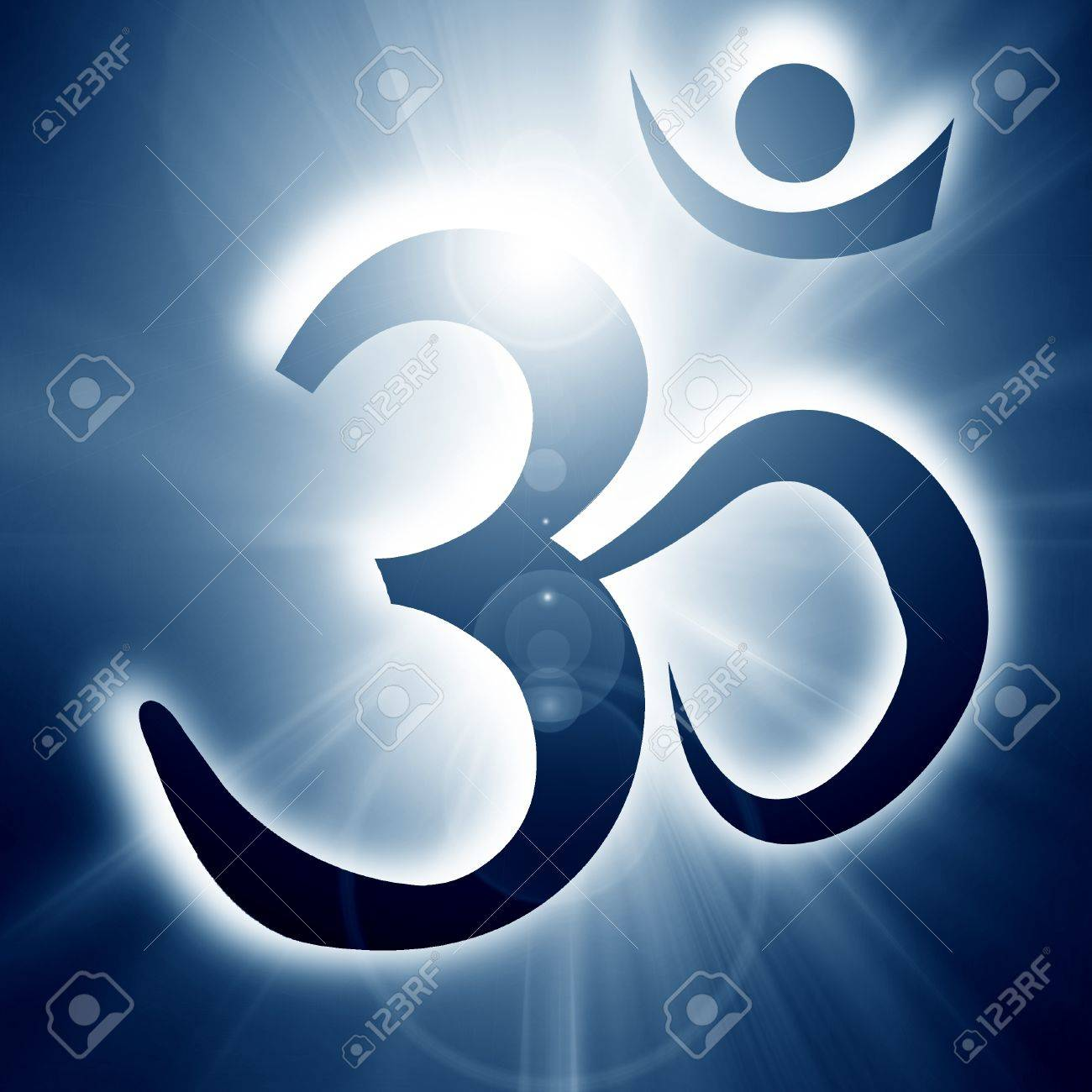 Om symbol on a soft glowing background with beams Stock Photo - 15612655