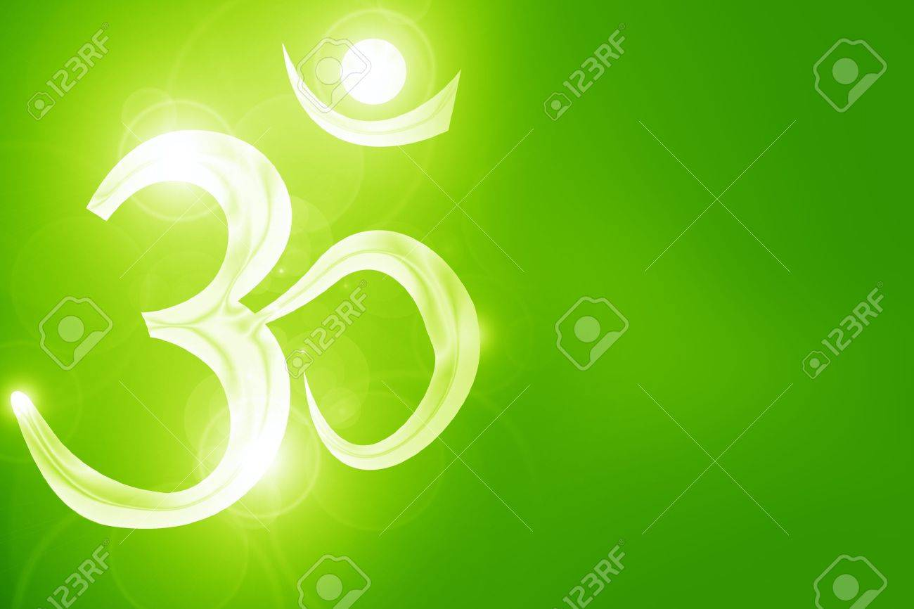 Om symbol on a soft glowing background with beams Stock Photo - 16491068