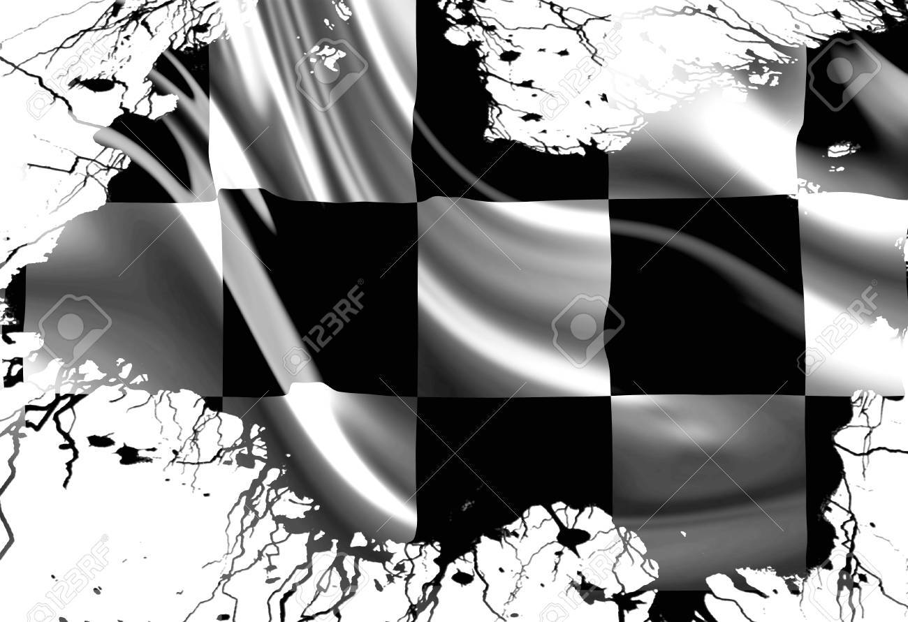 black and white racing flag with some smooth folds in it Stock Photo - 22226374