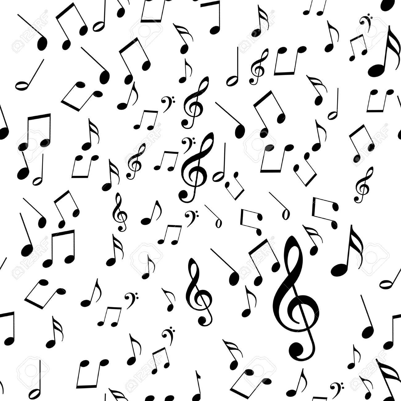Black And White Music Notes Background black music notes on a solid